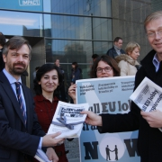 Martin Ehrenhauser MEP; Heghine Evinyan (office of Ehrenhauser MEP; Nicola Freeman (ALTER-EU); Olivier Hoedeman (ALTER-EU, Corporate Europe Observatory)